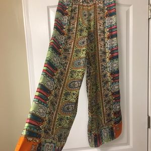New Chico's multi colored flowing wide-leg pant